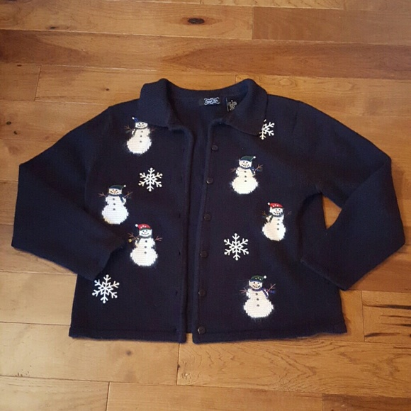 Crystal Kobe Sweaters - Crystal Kobe black button up snowman sweater